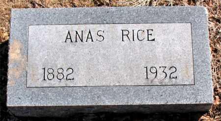 RICE, ANAS - Carroll County, Arkansas   ANAS RICE - Arkansas Gravestone Photos
