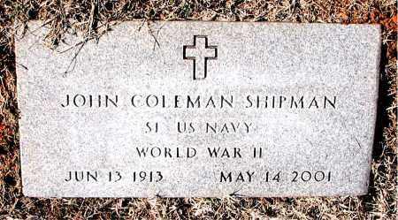 SHIPMAN  (VETERAN WWII), JOHN COLEMAN - Carroll County, Arkansas   JOHN COLEMAN SHIPMAN  (VETERAN WWII) - Arkansas Gravestone Photos