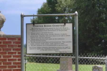 *CENTER RIDGE CEMETERY, SIGN - Clark County, Arkansas | SIGN *CENTER RIDGE CEMETERY - Arkansas Gravestone Photos