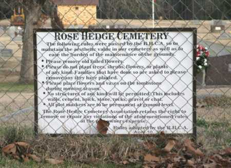 *ROSE HEDGE CEMETERY, SIGN - Clark County, Arkansas | SIGN *ROSE HEDGE CEMETERY - Arkansas Gravestone Photos