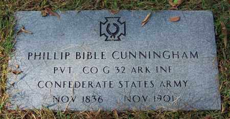 CUNNINGHAM (VETERAN CSA), PHILLIP BIBLE - Cleburne County, Arkansas   PHILLIP BIBLE CUNNINGHAM (VETERAN CSA) - Arkansas Gravestone Photos