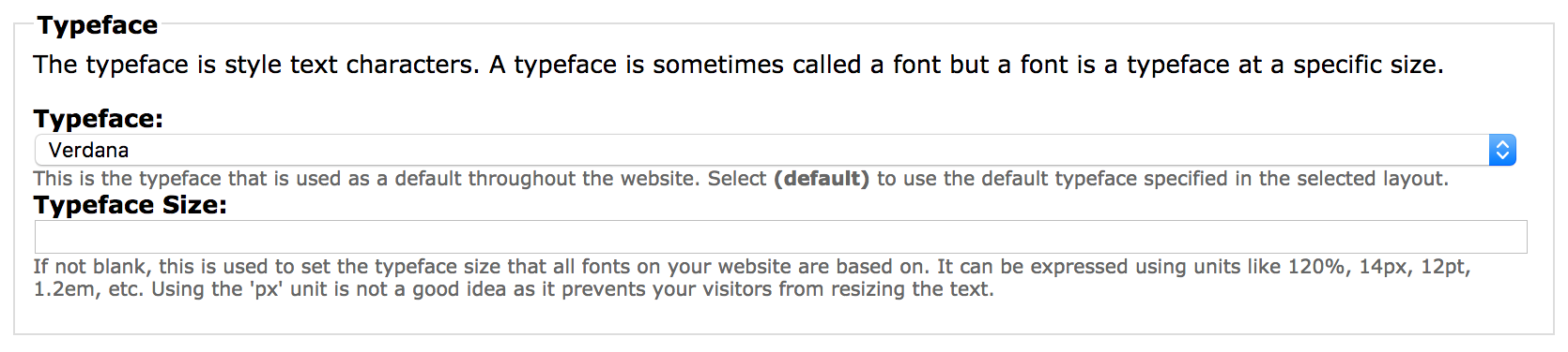Default Font Typeface Section