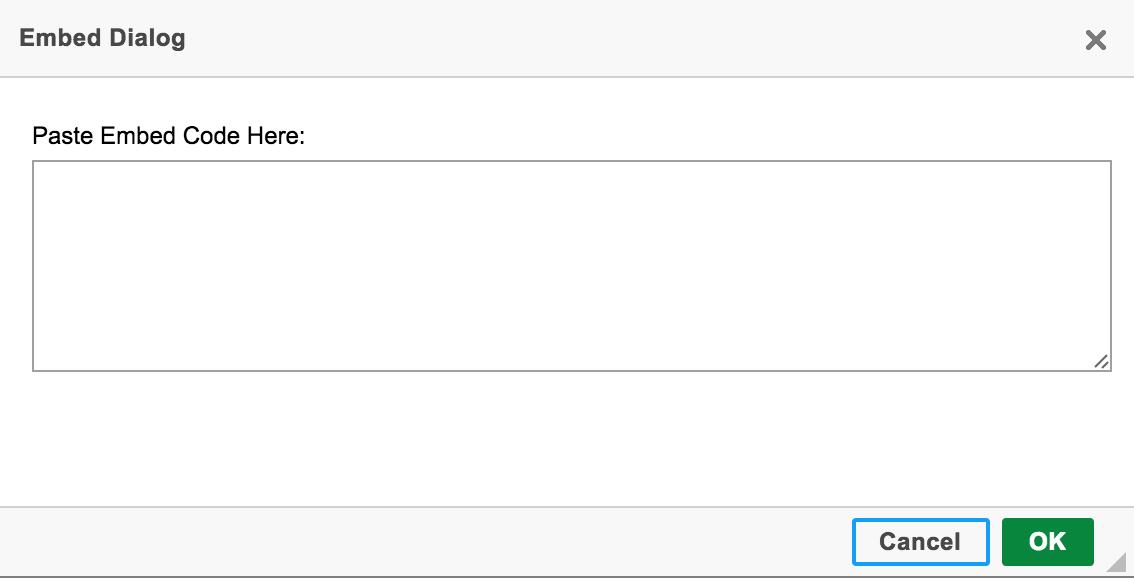 Embed Dialog Box