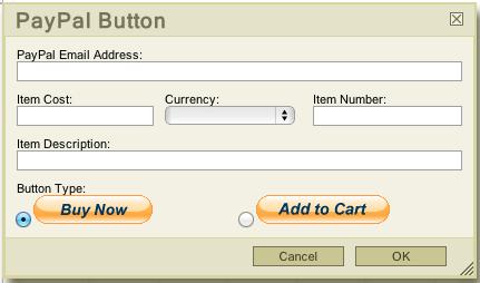 PayPal Button Dialog Box