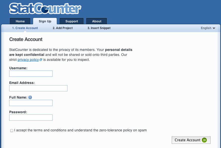Statcounter Signup Step 1