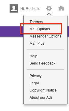 Yahoo Gear icon and Drop Down Options