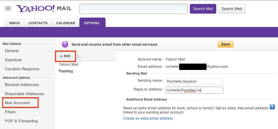 Yahoo Mail Options