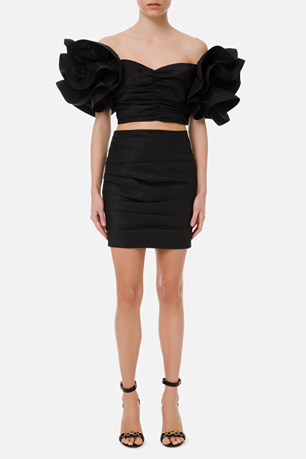 Outfit with draped ruffles ELISABETTA FRANCHI | 42 | TG00311E2110