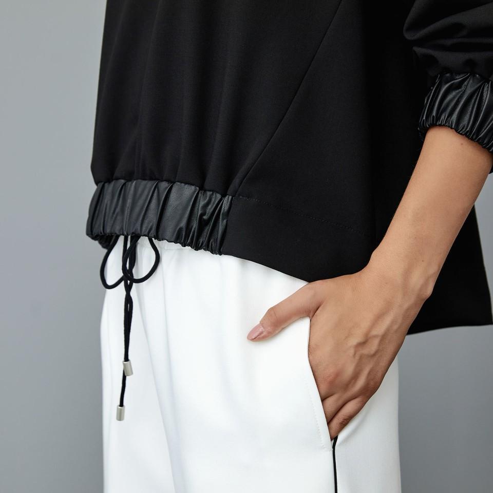 blusa con profili in ecopelle ACCESS fashion | W1-2043111