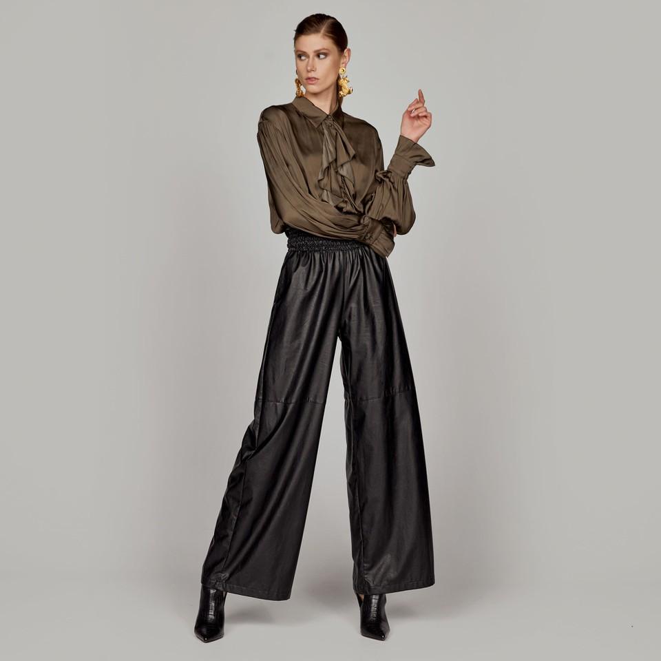 pantalone in similpelle effetto smock in vita ACCESS fashion | W1-5066176