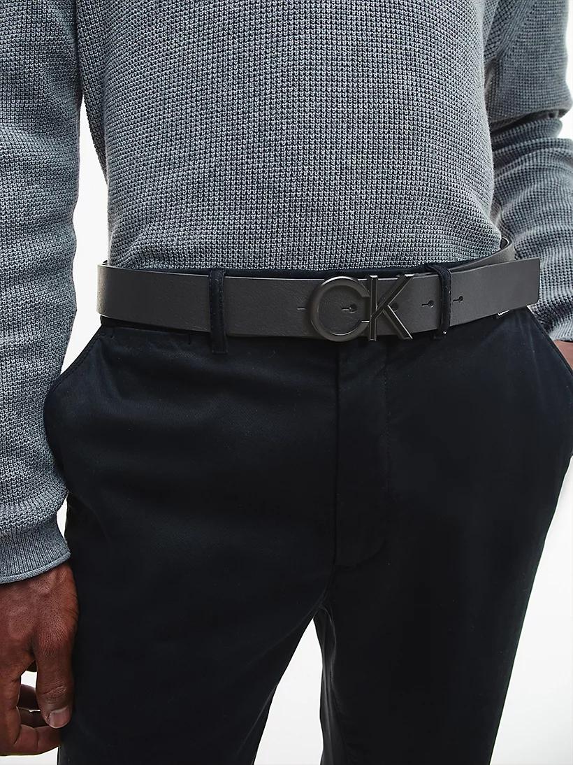 Cintura in pelle con logo CALVIN KLEIN   K50K507075NERO
