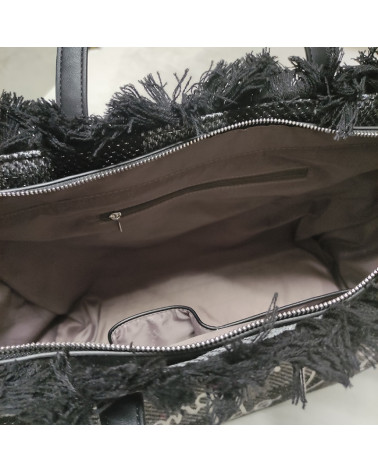 borsa shopper paloma in lana LE PANDORINE   PALOMA BAG FREDDOETNO BLACK