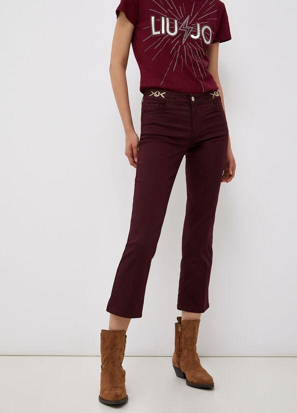 Pantalone cropped con dettagli logati LIU.JO | WF1226T7144X0201