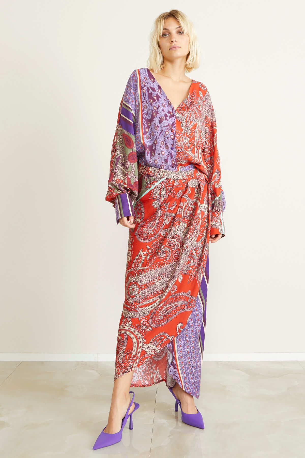 Gonna stamapa foulard SOUVENIR | J30Y1026FANTASIA VIOLA