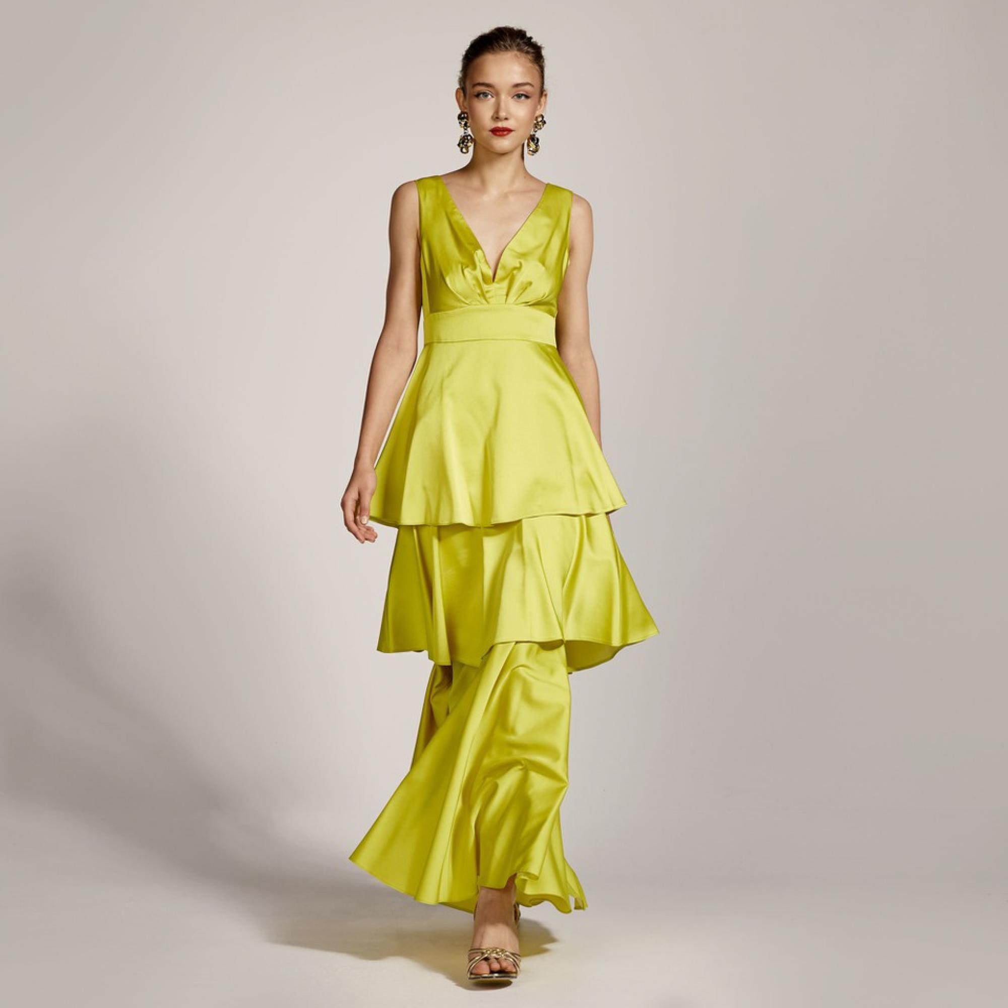 Abito con maxi balze ACCESS fashion | S1-3005LIME YELLOW