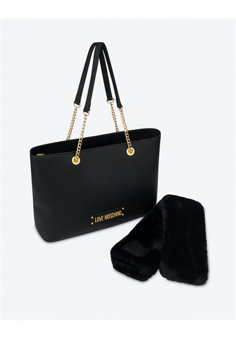 borsa shopper furry scarf LOVE MOSCHINO | JC4307PP0DKNNERO