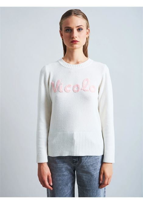 maglione scritta vicolo VICOLO | 7093XBIANCO ROSA