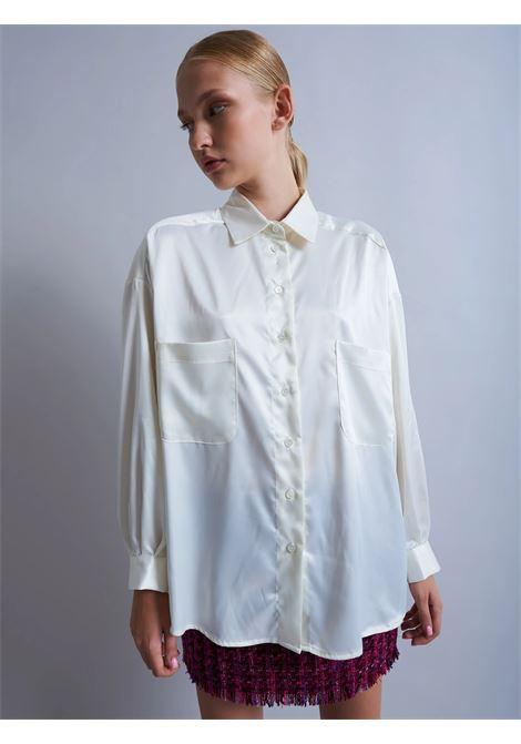 camicia con colletto OVER  SATIN VICOLO | TX0266CHAMPAGNE