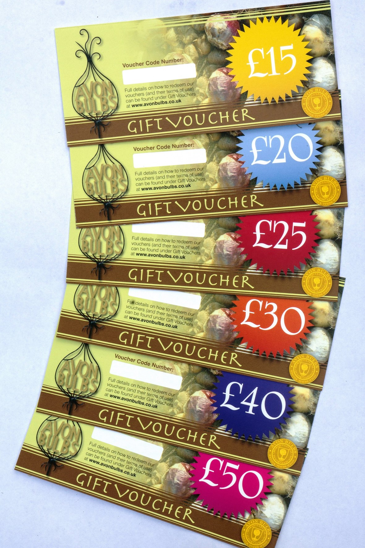 Gift vouchers 15 20 25 30 35 40 50 avon bulbs for Gardening gift vouchers