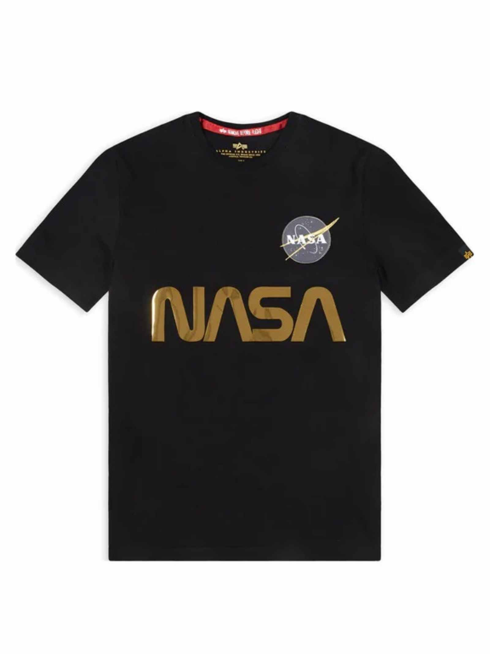 T-shirt nera con logo Nasa oro ALPHA INDUSTRIES | T-shirt | 178501365
