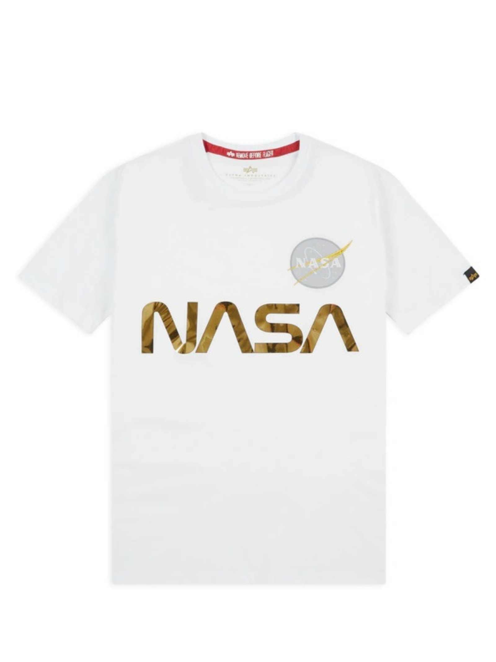 White t-shirt with gold Nasa logo ALPHA INDUSTRIES | T-shirt | 178501438