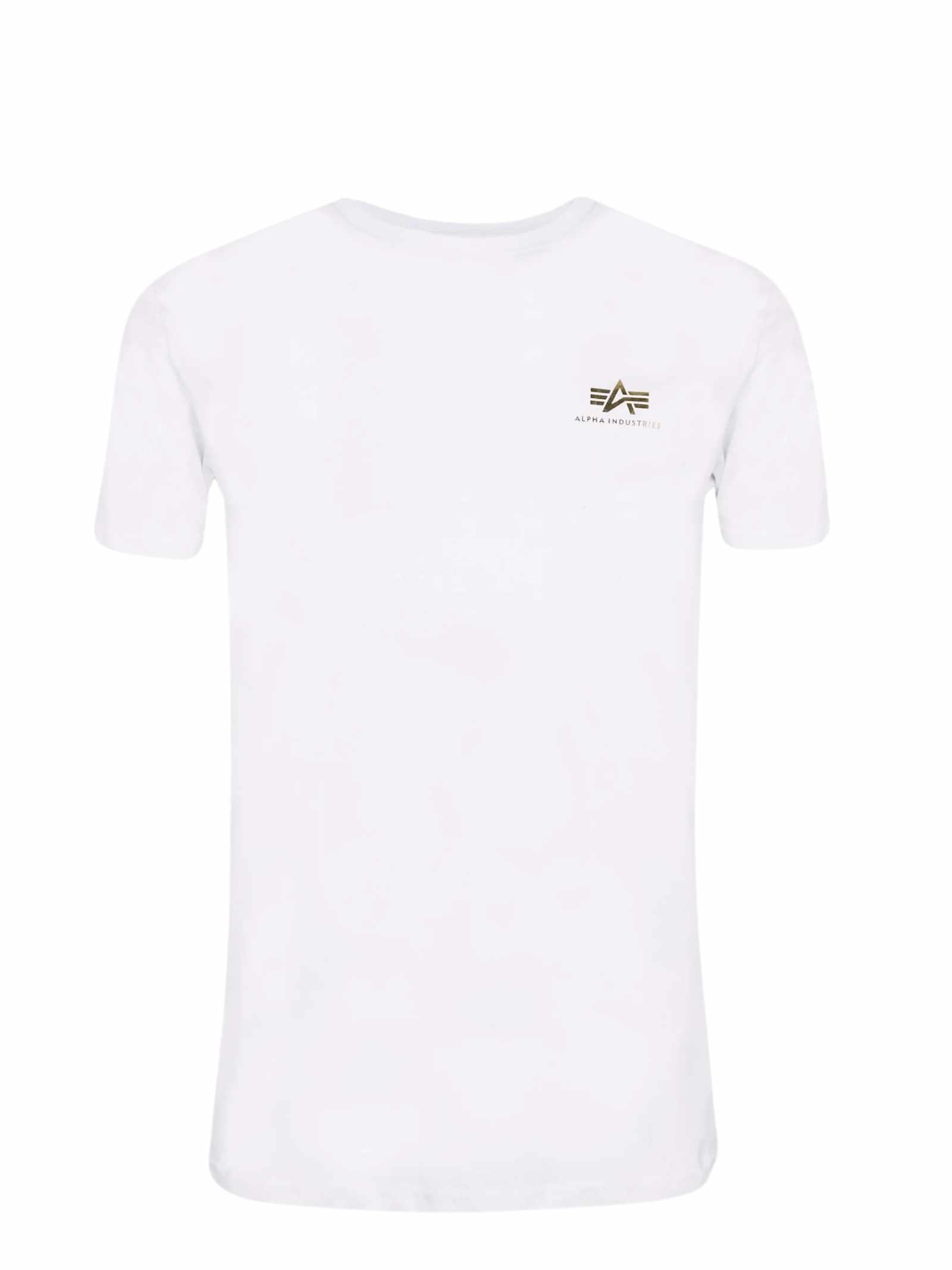 T-shirt bianca girocollo con logo oro ALPHA INDUSTRIES   T-shirt   188505FP590
