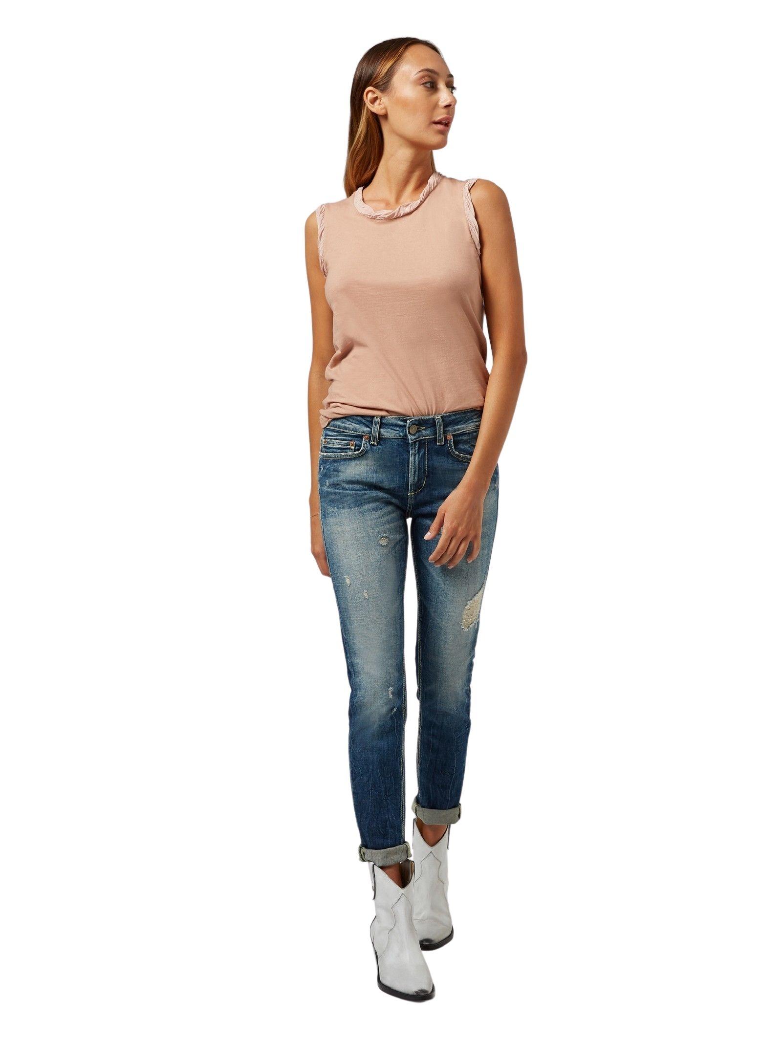 Top rosa smanicato DONDUP | Top | S863 JF0254DPTD 518