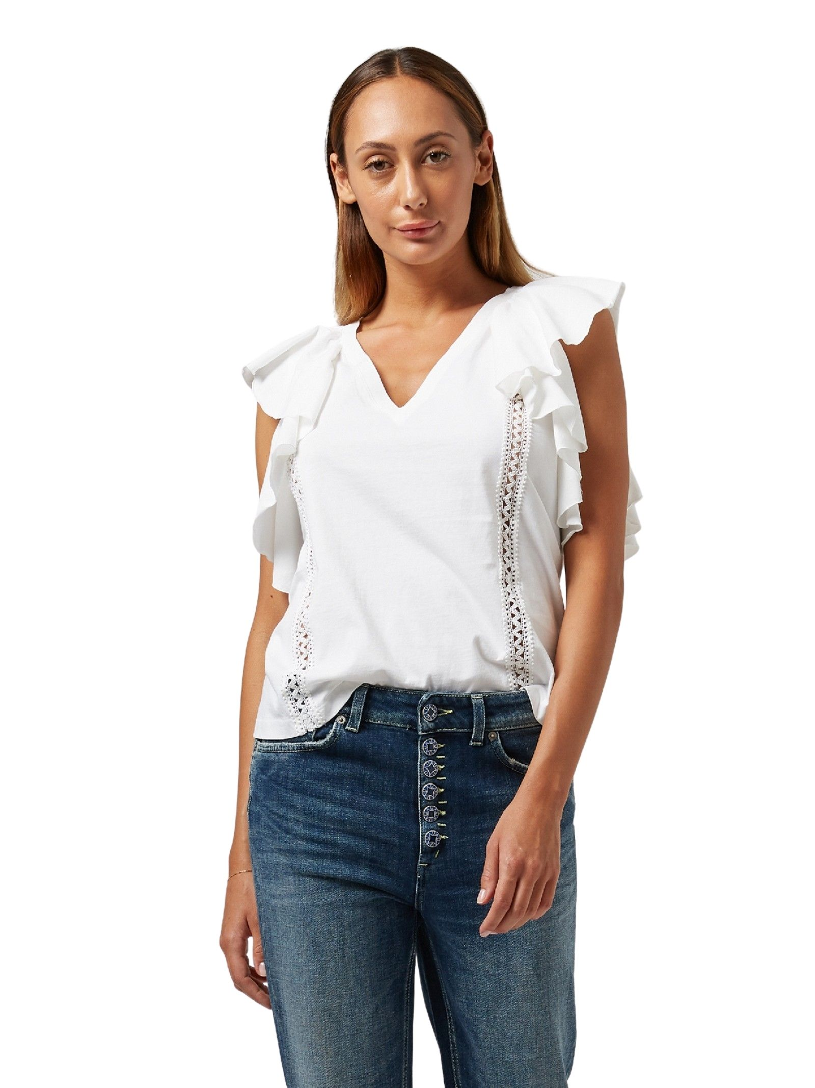 Top bianco con scollatura a V DONDUP   Top   S871 JF0290DPTD 000