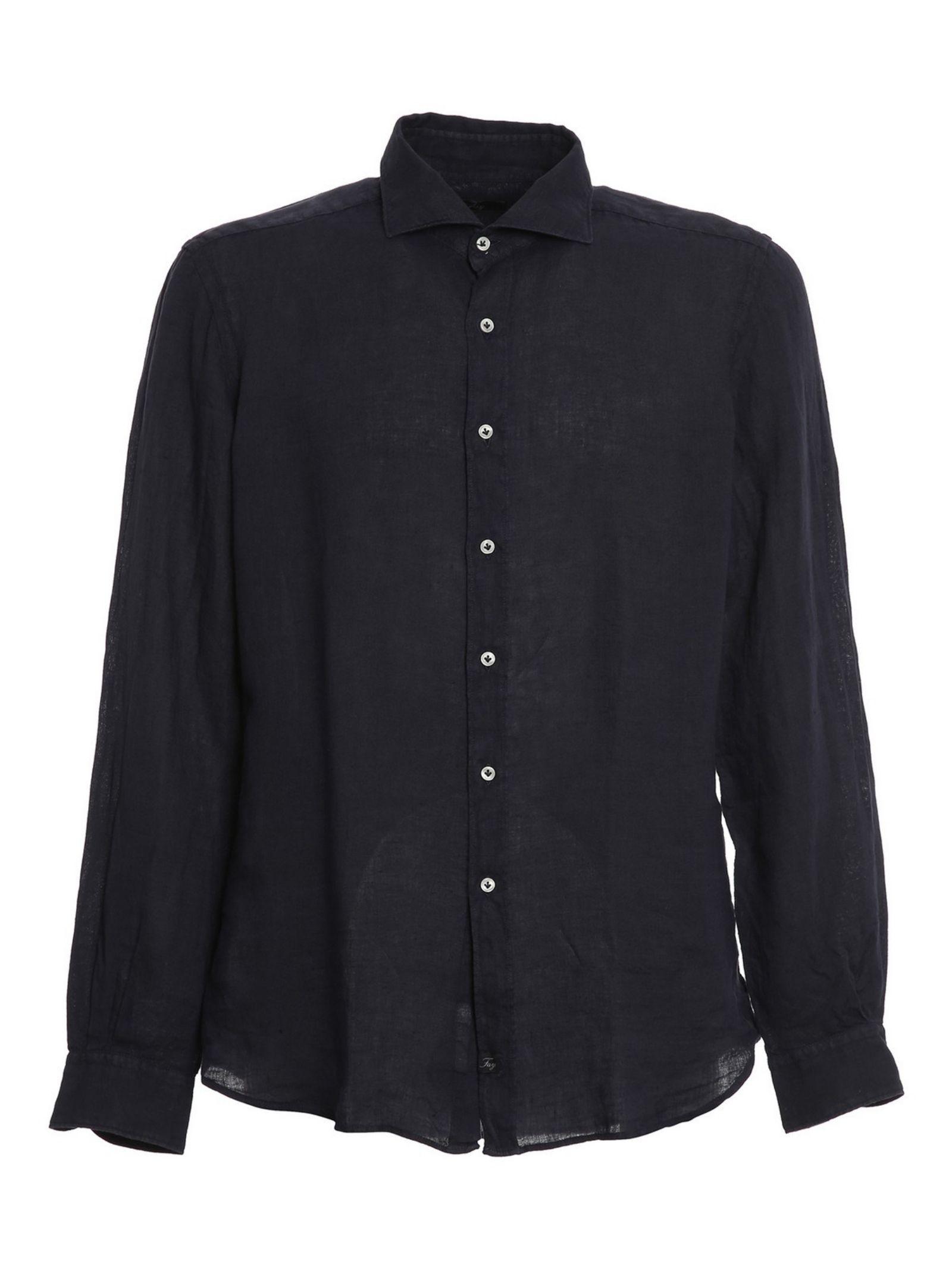 Camicia Collo Francese blu navy FAY | Camicia | NCMA142259THTKU807