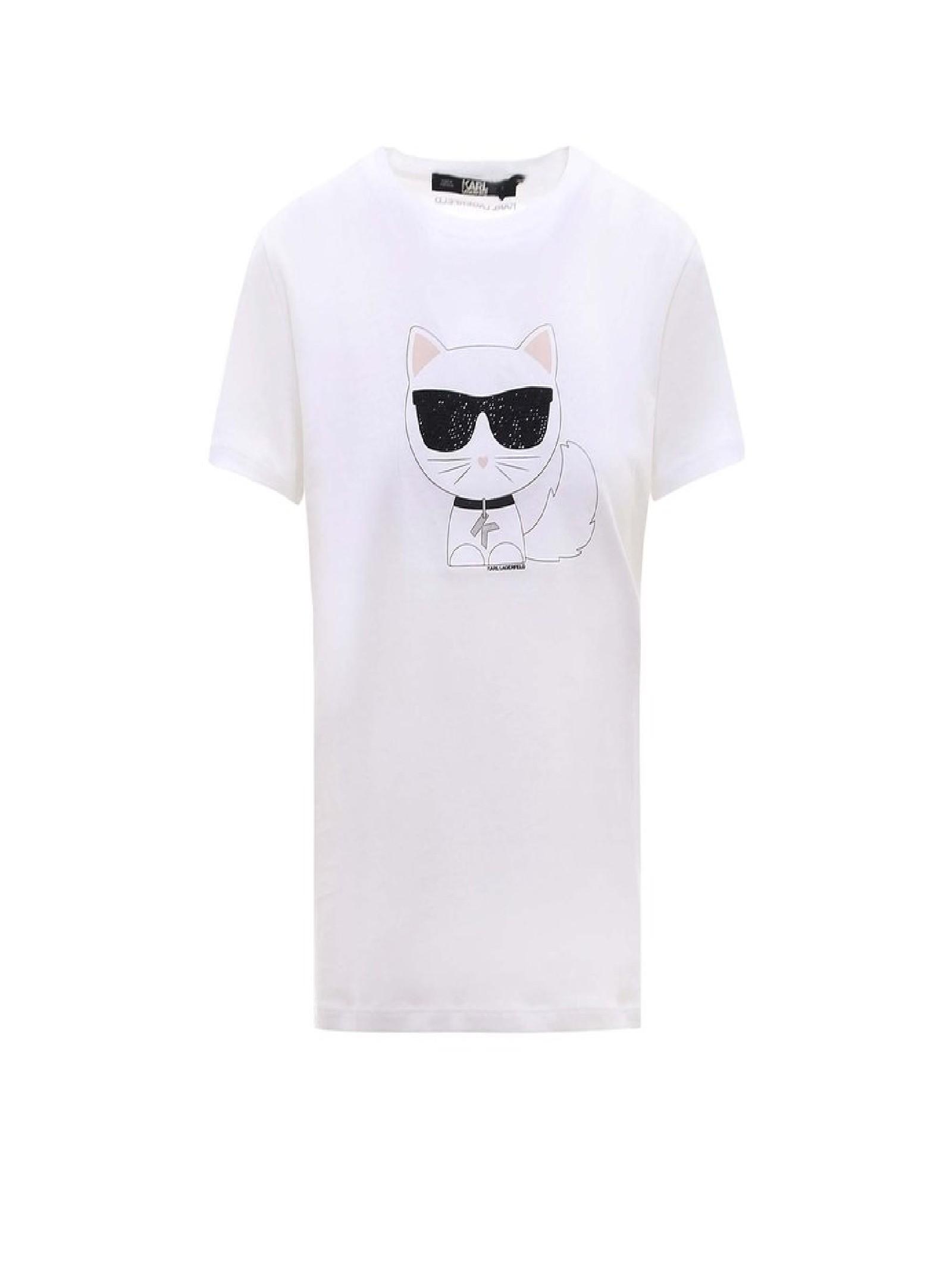 T-shirt bianca con stampa KARL LAGERFELD   T-shirt   210W1723.21100