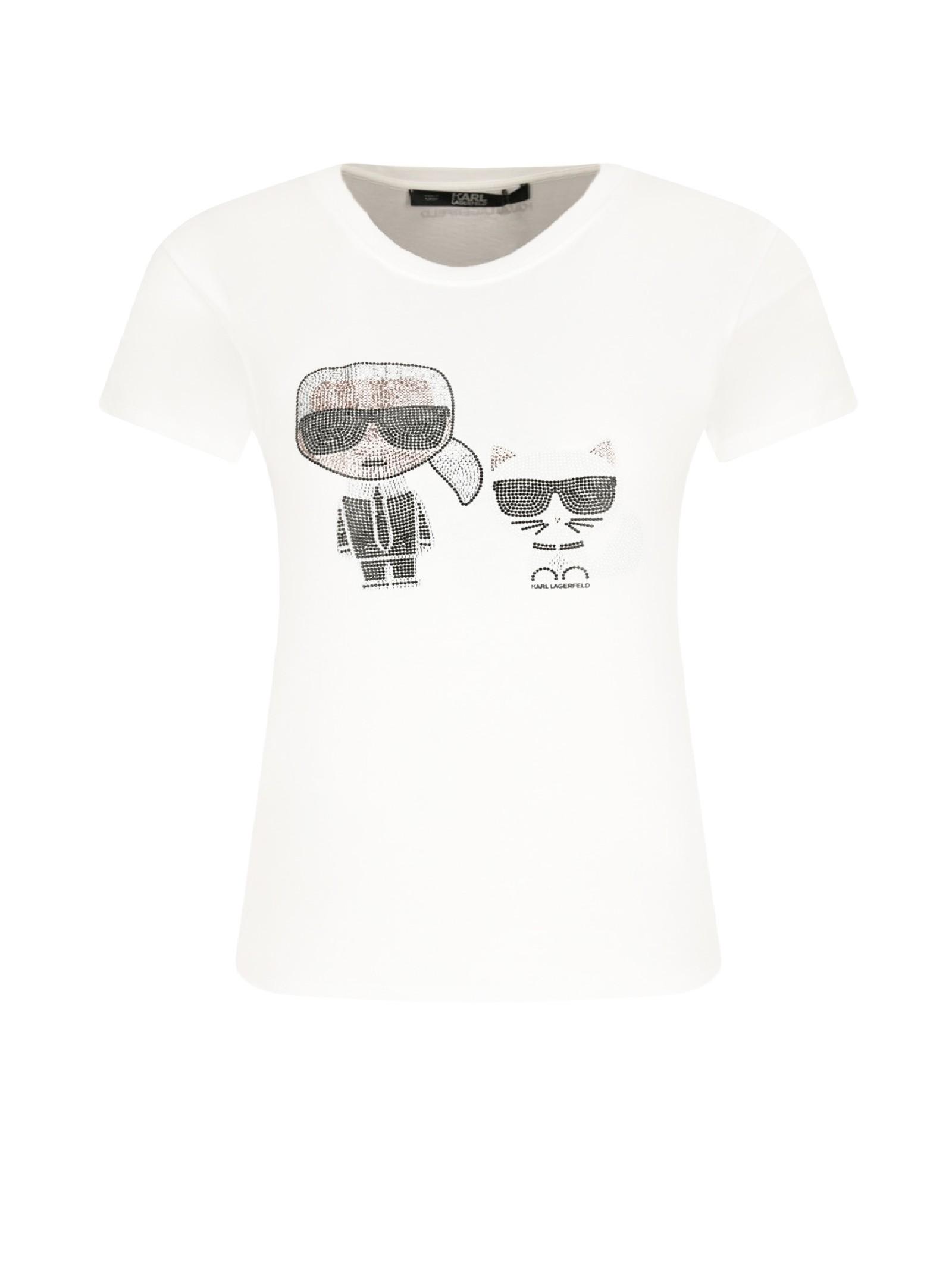 T-shirt bianca con stampa KARL LAGERFELD | T-shirt | 210W1725.21100
