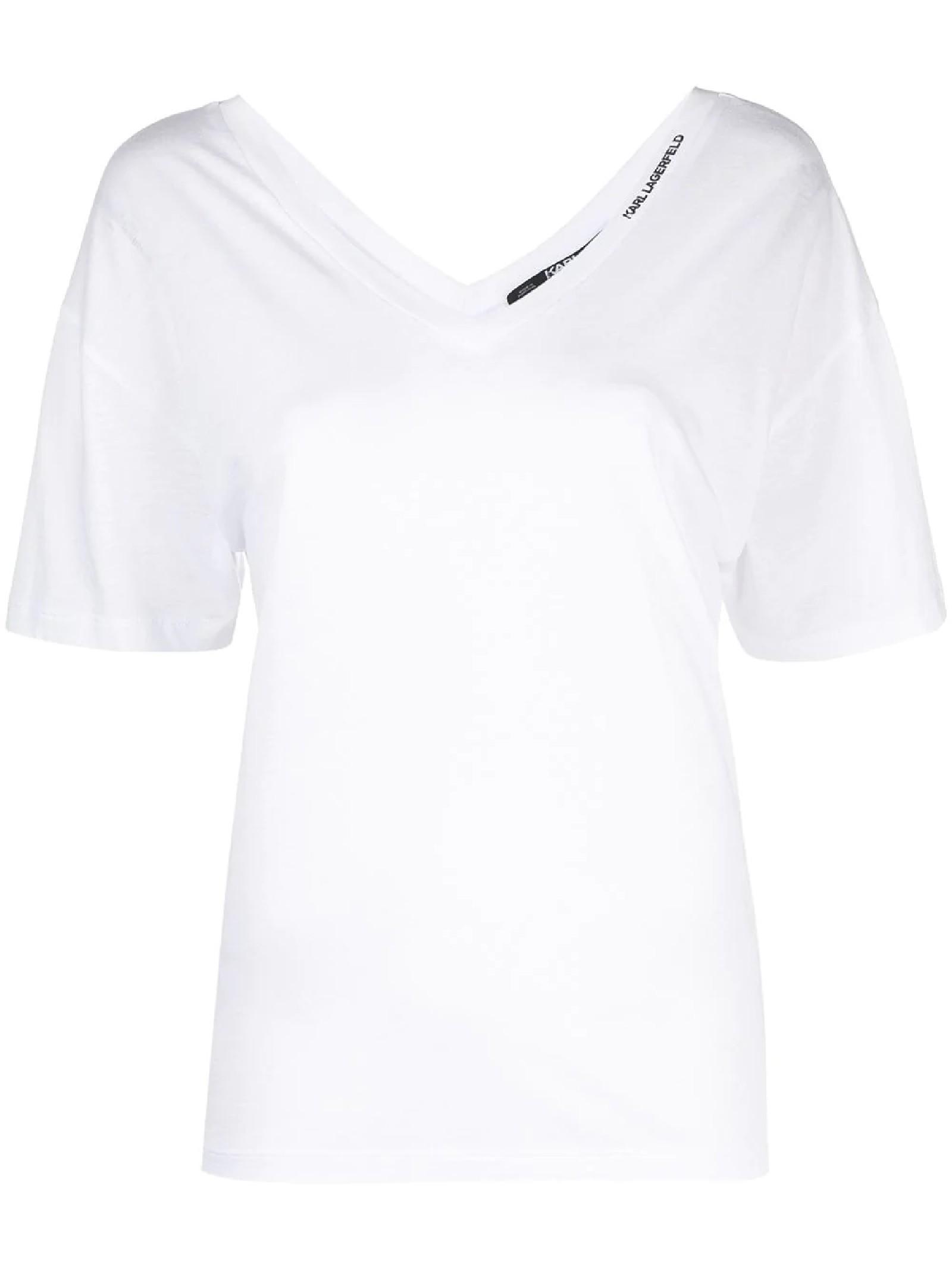 T-shirt bianca con scollo a V KARL LAGERFELD | T-shirt | 211W1701100
