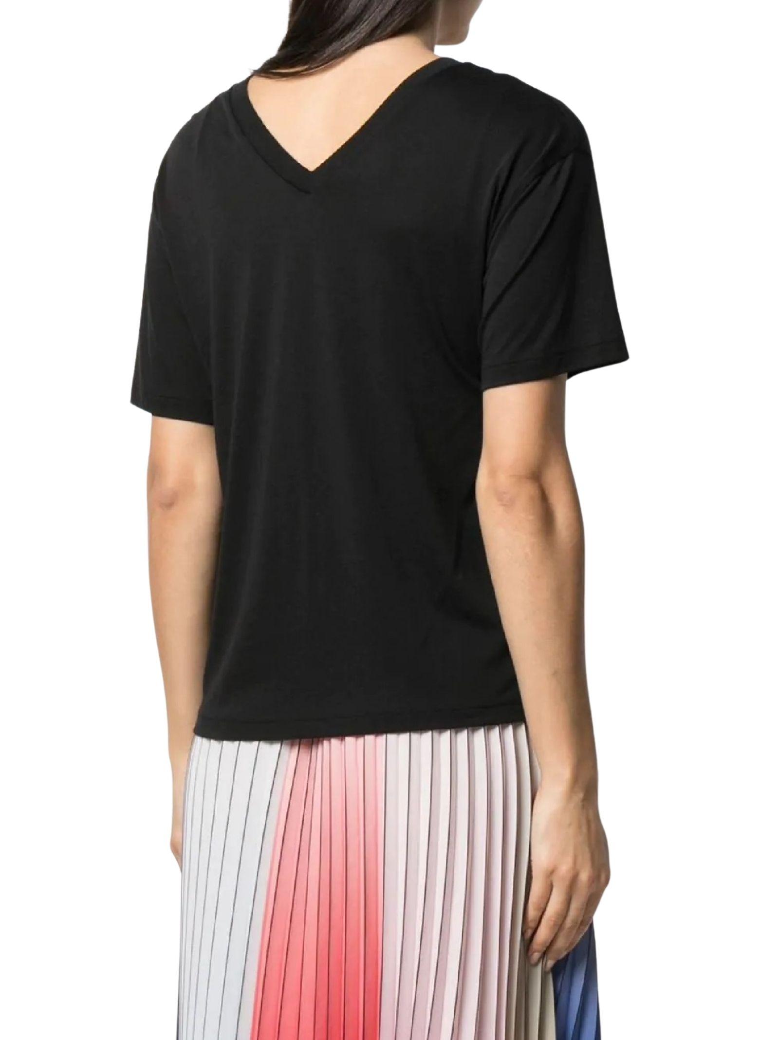 T-shirt nera con  scollo a V KARL LAGERFELD | T-shirt | 211W1701999