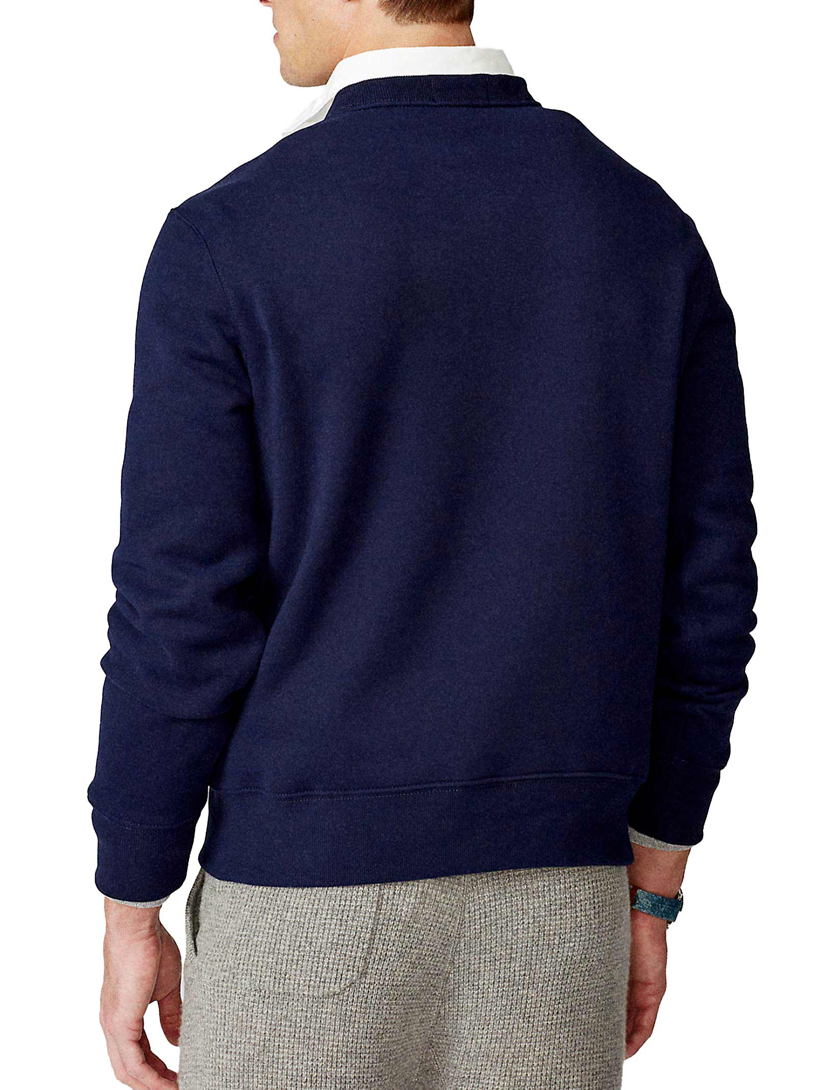 Felpa a giro collo blu con ricamo RALPH LAUREN | Pullover | 710-829165001