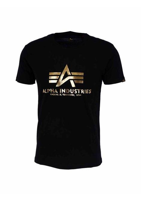 Black t-shirt with gold print ALPHA INDUSTRIES | T-shirt | 100501FP583