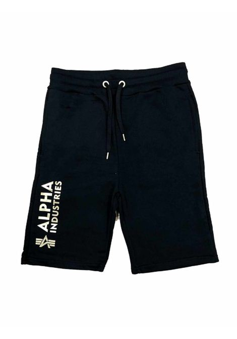 Pantaloncino nero in tuta con logo ALPHA INDUSTRIES | Shorts | 116364FP583