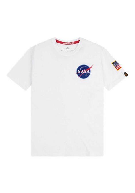 T-shirt bianca con logo Nasa ALPHA INDUSTRIES | T-shirt | 17650709