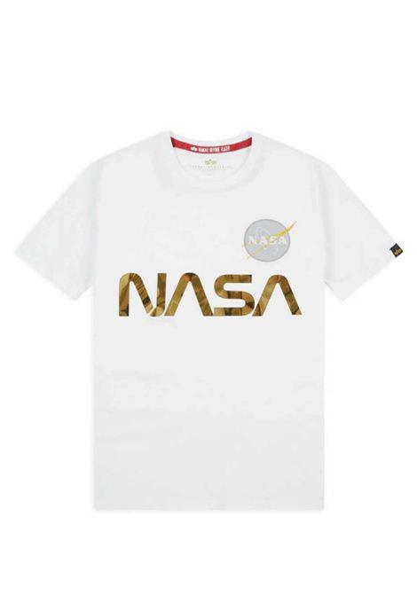 T-shirt bianca con logo Nasa oro ALPHA INDUSTRIES | T-shirt | 178501438