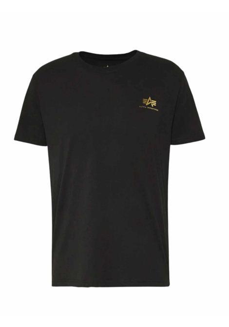 T-shirt nera girocollo con logo ALPHA INDUSTRIES | T-shirt | 188505FP583