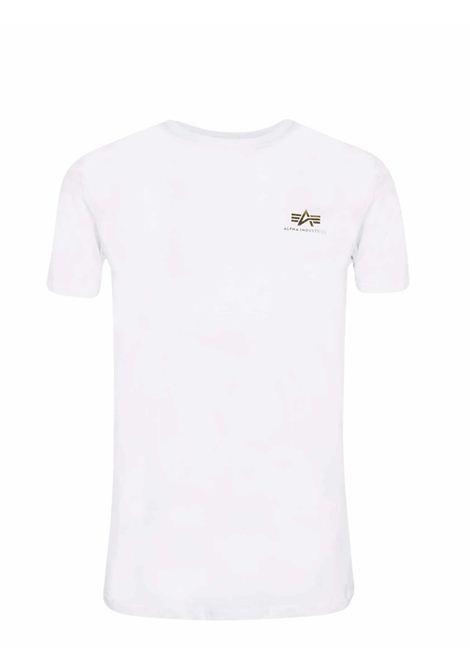 White crewneck t-shirt with gold logo ALPHA INDUSTRIES | T-shirt | 188505FP590