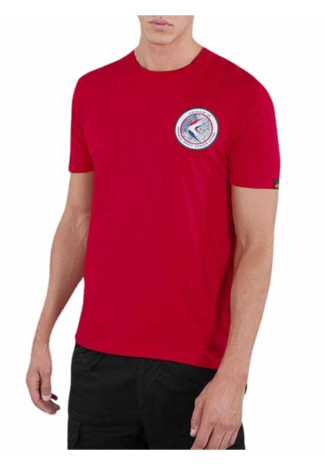 T-shirt rossa girocollo con logo ALPHA INDUSTRIES | T-shirt | 198501328