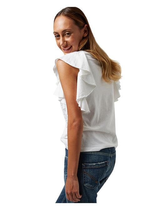 Top bianco con scollatura a V DONDUP | Top | S871 JF0290DPTD 000