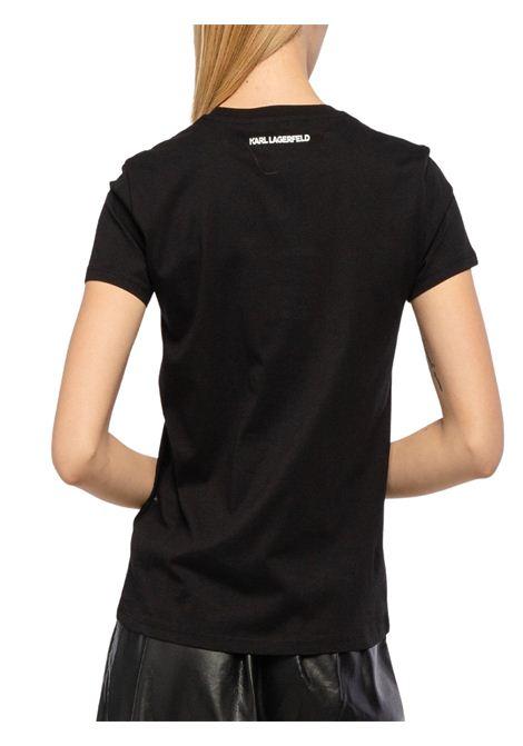 Black t-shirt with print KARL LAGERFELD | T-shirt | 210W1725.21999