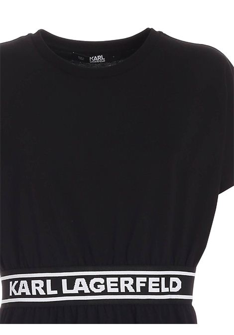 Black casual dress with ribbon KARL LAGERFELD | Shirt dress | 211W1361999
