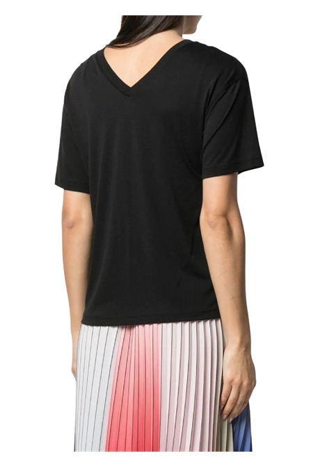 Black T-shirt  with V-neck KARL LAGERFELD | T-shirt | 211W1701999