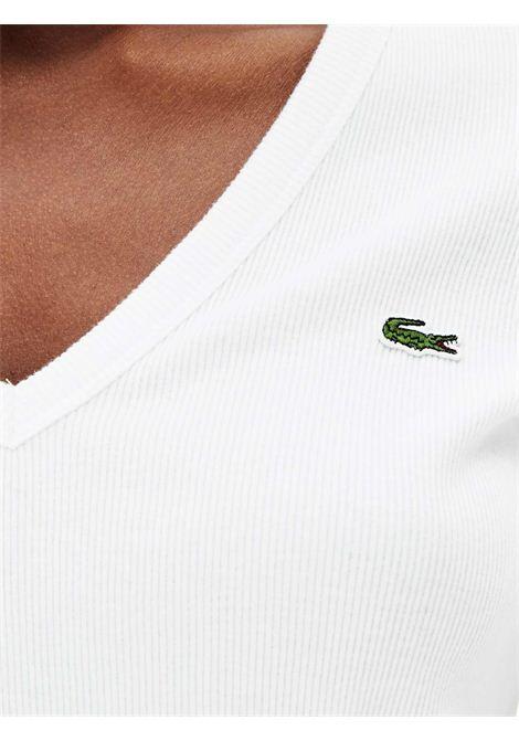 T-shirt con scollo a v bianca LACOSTE | T-shirt | TF5457001