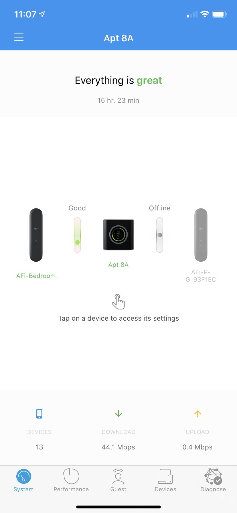 amplifi hd ios app screen