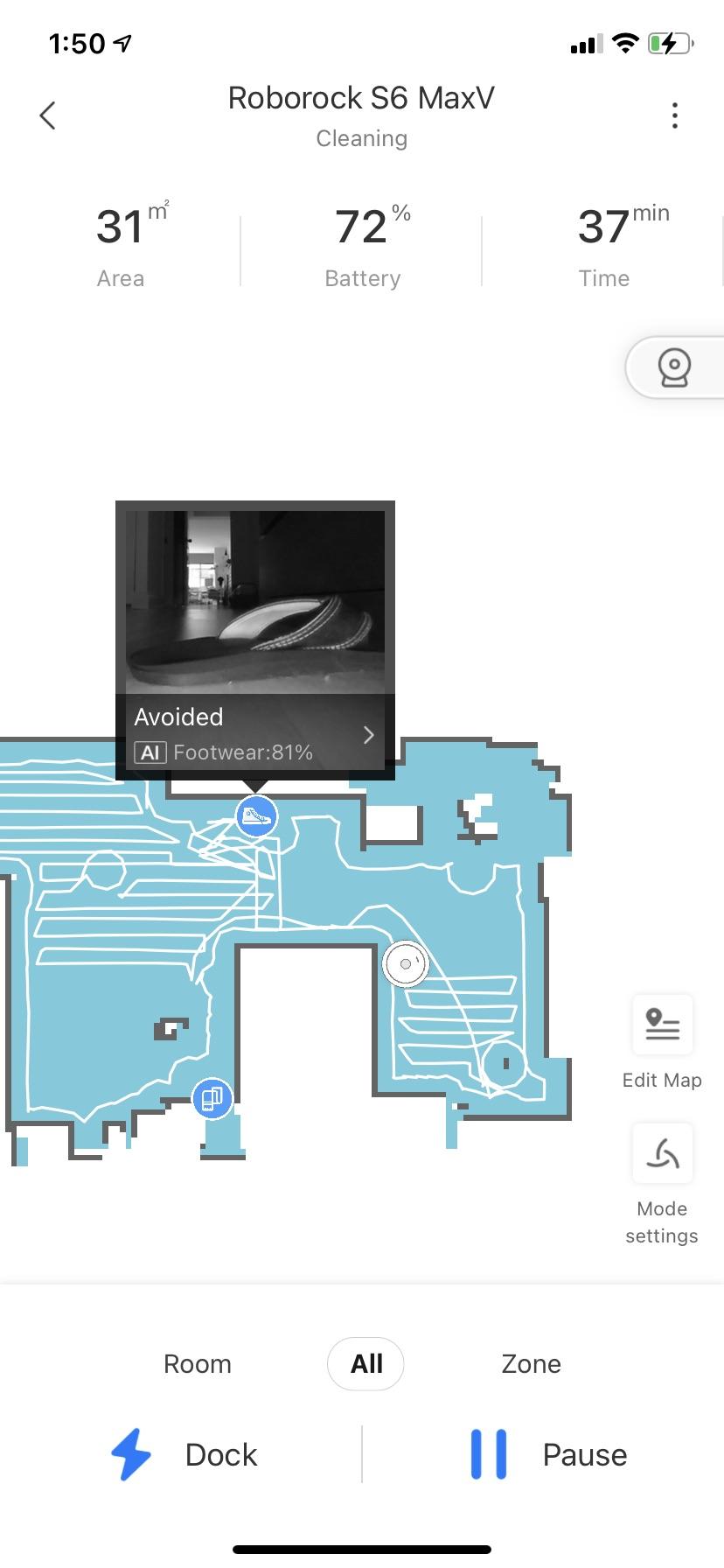 Roborock S6 MaxV Reactiv AI App