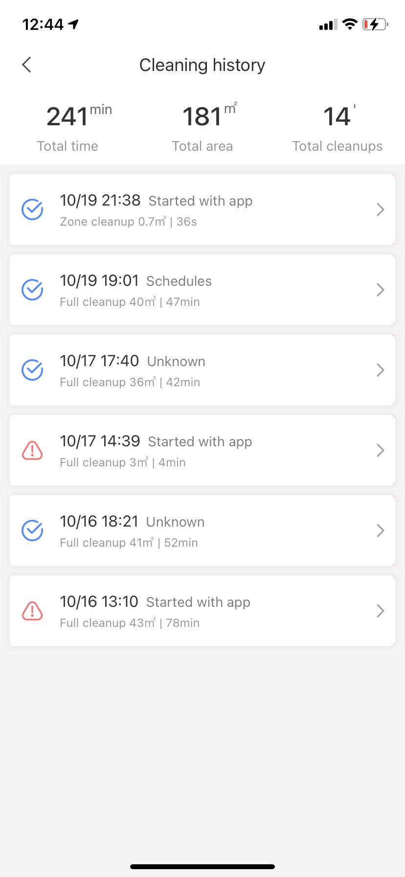 Roborock S6 MaxV Vacuum App Cleaning log