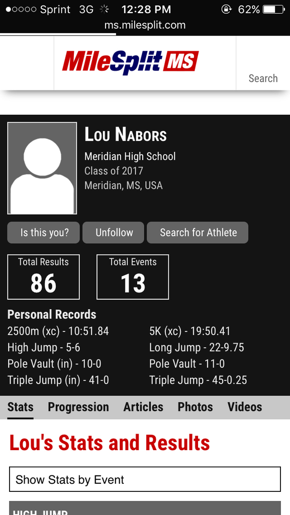 Lou Nabors Track and Field, XC Recruiting Profile